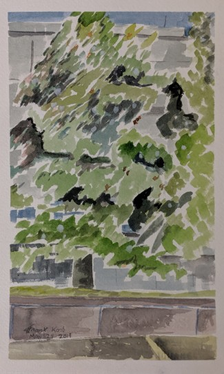 Trees in front of the Library of Congress, Watercolor on Paper, Collection of Abby Korb, Watercolor on Paper. NFS.