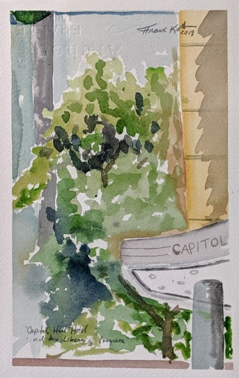 Capitol Hill Hotel, Collection of Abby Korb, Watercolor on Paper, 2019. NFS.