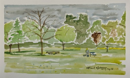 "View of the Trees, Fort Atkinson, WI, Watercolor on Paper, 5"" x 7"" , 2019, $45."