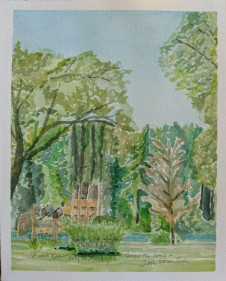 Across the Road at Little Silver Lake, $100, Watercolor on Paper