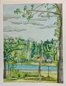 Another View Across the Road at Little Silver Lake, $100, Watercolor on Paper