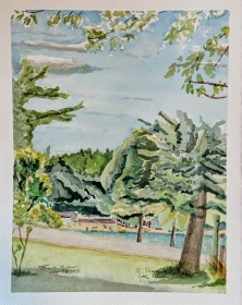 A Sliver of Little Silver Lake, $100, Watercolor on Paper