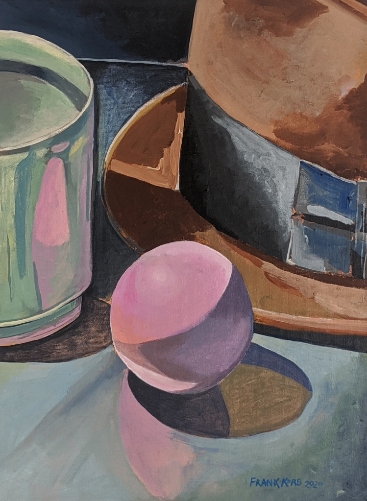 """Mug, Hat, and Spaldeen,"" Frank Korb, 14.875"" x 11"", Acrylic on Canvas, 2020, $220."