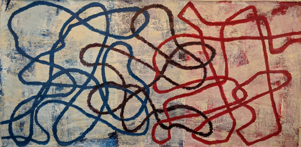 """We So Often Insist On A Particular Outcome."" 48"" x 95"" Frank Korb, 2020, $4105."
