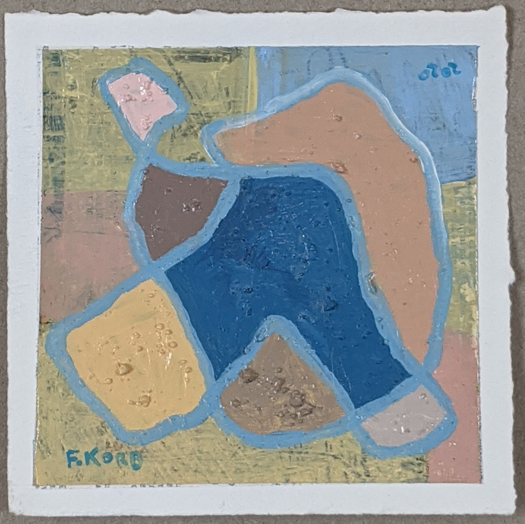 """Right Intention"", Frank Korb, Acrylic, Sand, and Collage on Paper, 6"" x 6"", 2020, $100."