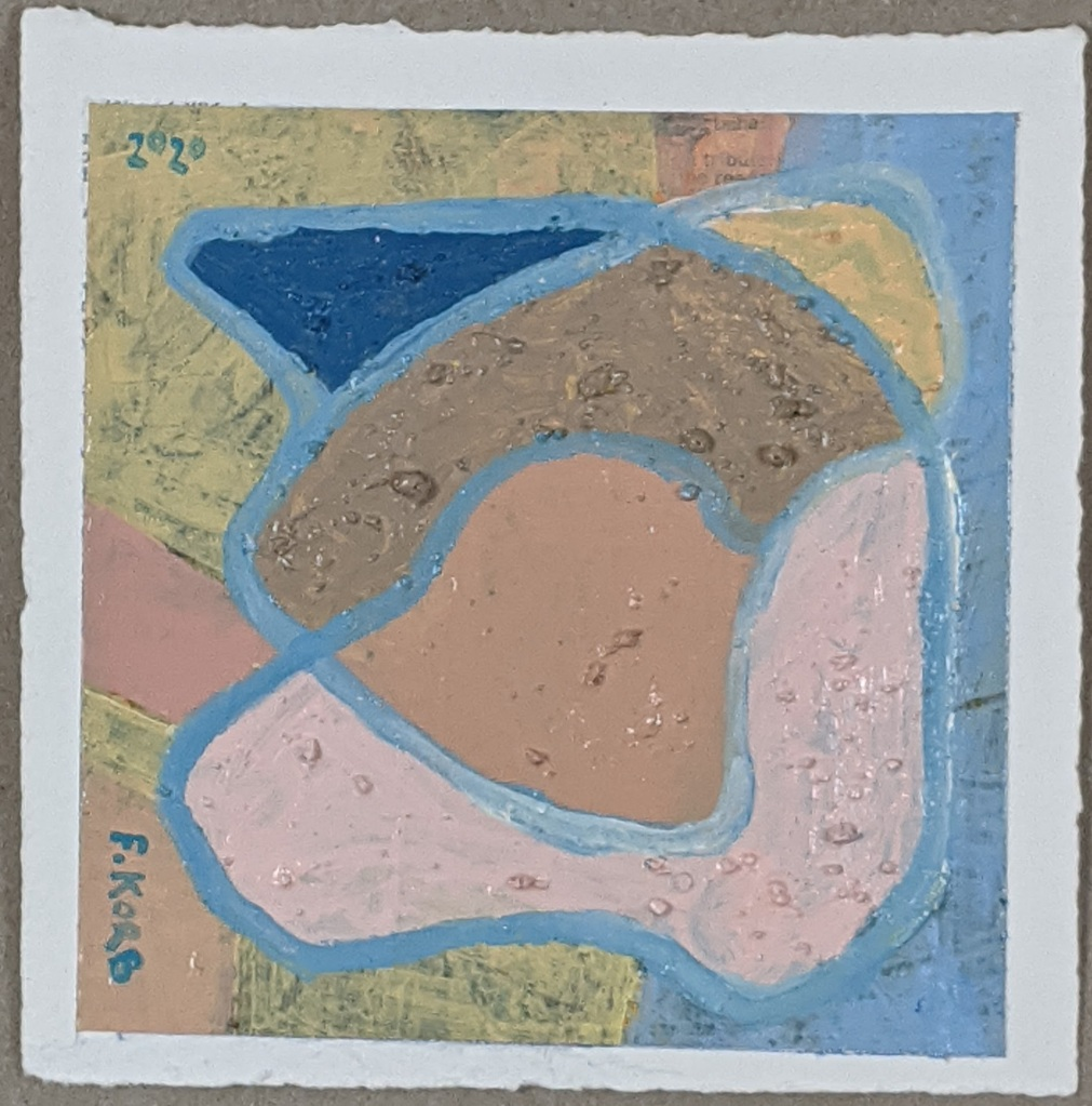"""Right Resolve"", Frank Korb, Acrylic, Sand, and Collage on Paper, 6"" x 6"", 2020, $100."