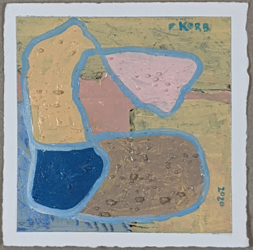 """Right Motive"", Frank Korb, Acrylic, Sand, and Collage on Paper, 6"" x 6"", 2020, $100."