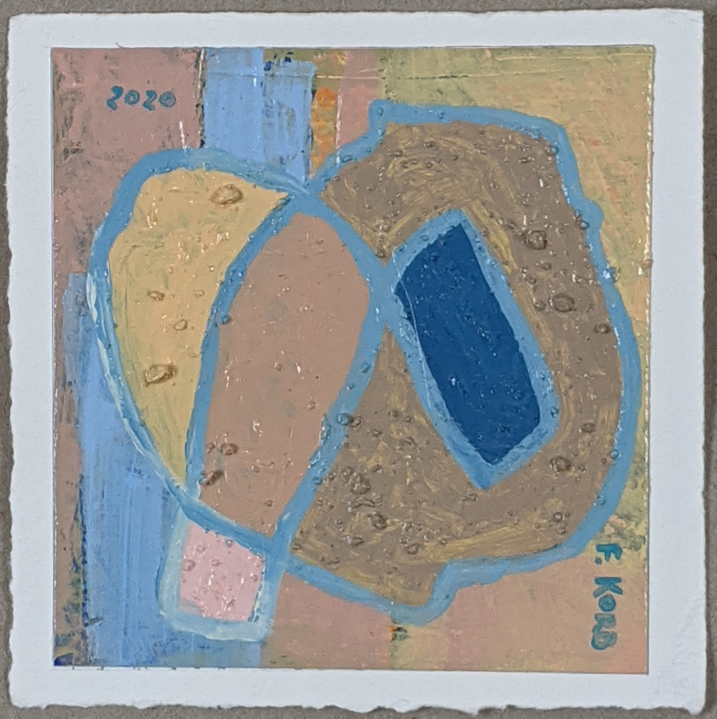 """Right View"", Frank Korb, Acrylic, Sand, and Collage on Paper, 6"" x 6"", 2020, $100."