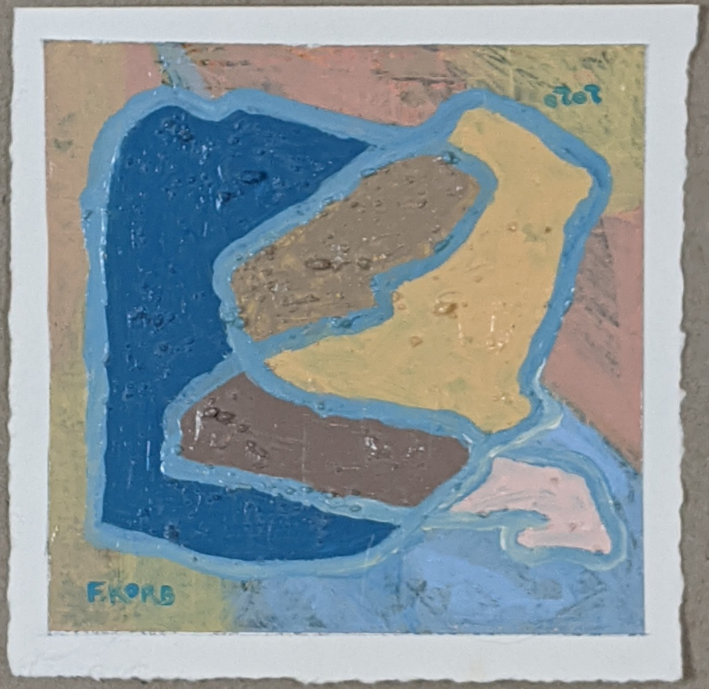 """Right Mindfulness"", Frank Korb, Acrylic, Sand, and Collage on Paper, 6"" x 6"", 2020, $100."
