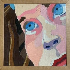 """""""Gabrielle,"""" Frank Korb, Oil on Canvas, 8"""" x 8"""" (perhaps), c. 2003, Unbehaun Collection."""