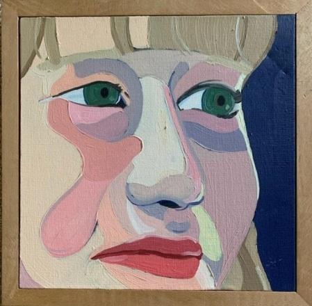 """""""Grace,"""" Frank Korb, Oil on Canvas, 8"""" x 8"""" (perhaps), c. 2003, Unbehaun Collection."""
