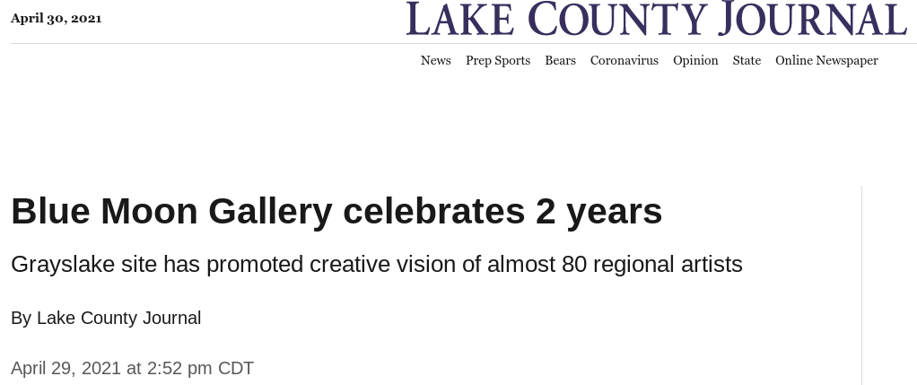 Lake County Headline - Bluemoon Gallery April 2021