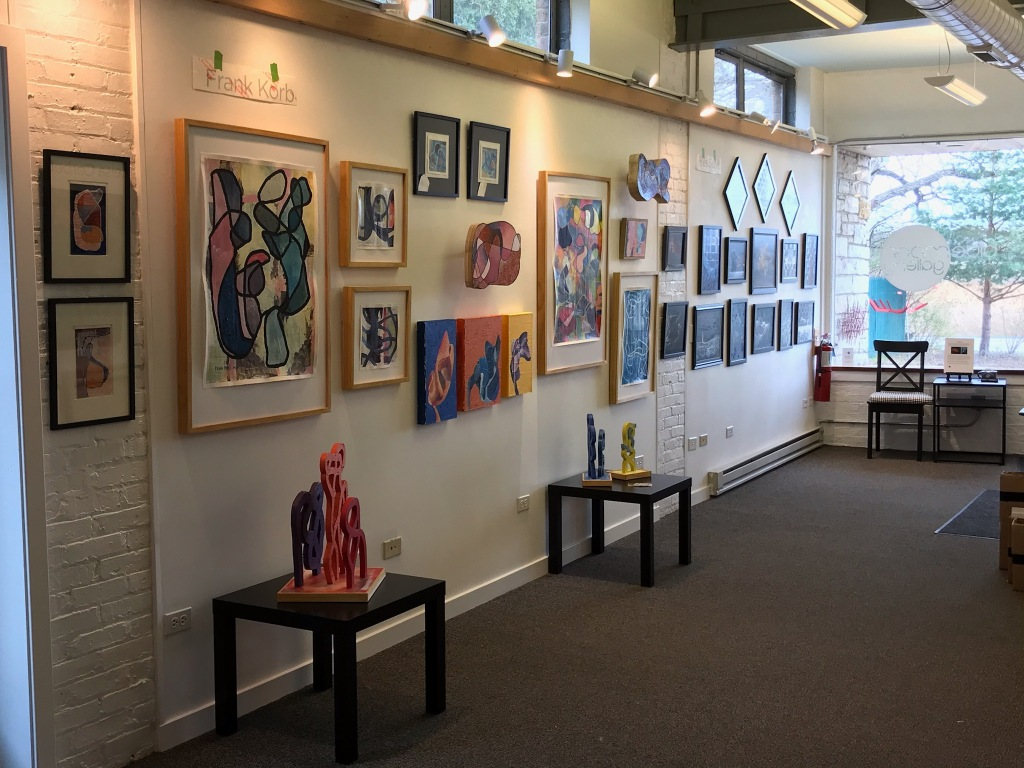 Works in preview - just setting up - at the Blue Moon Gallery in Grayslake, IL. Opening reception on April 24, 6 - 9 pm. Show runs weekends through May 9.