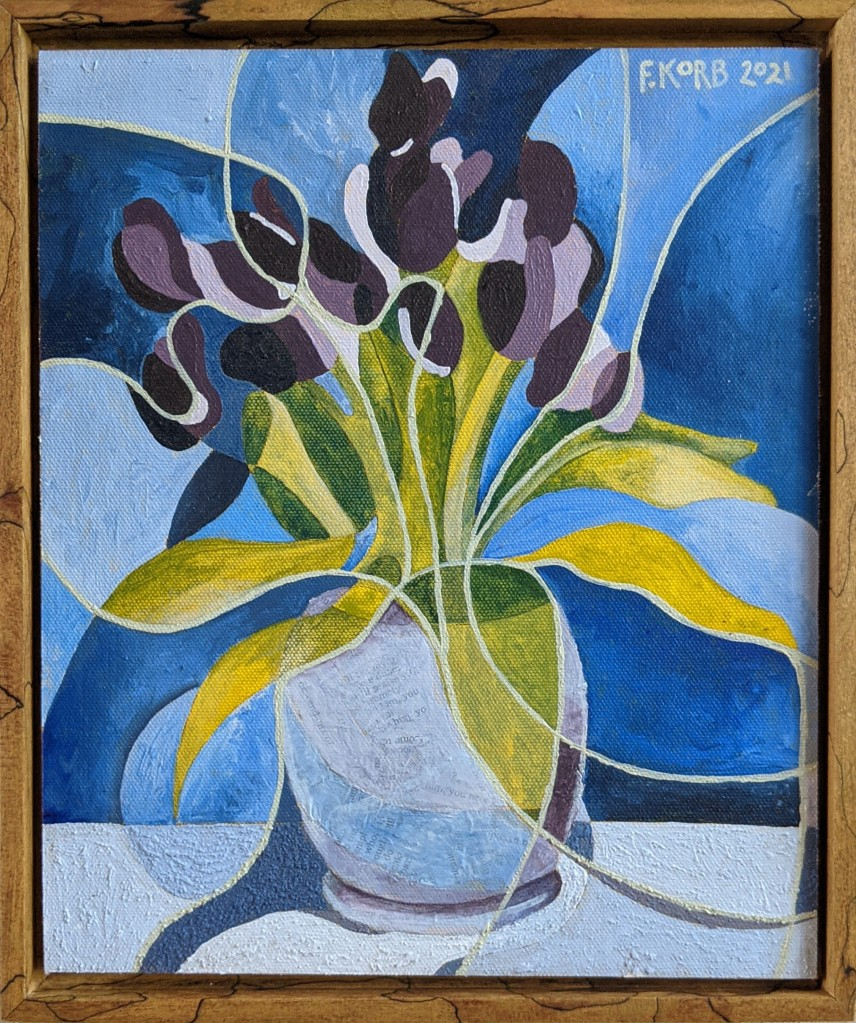 """SOLD - Seeing The Whole (Tulips), Frank Korb, Acrylic, Sand, Collage on Canvas Mounted to Panel, 10.75"""" x 9"""", 2021."""