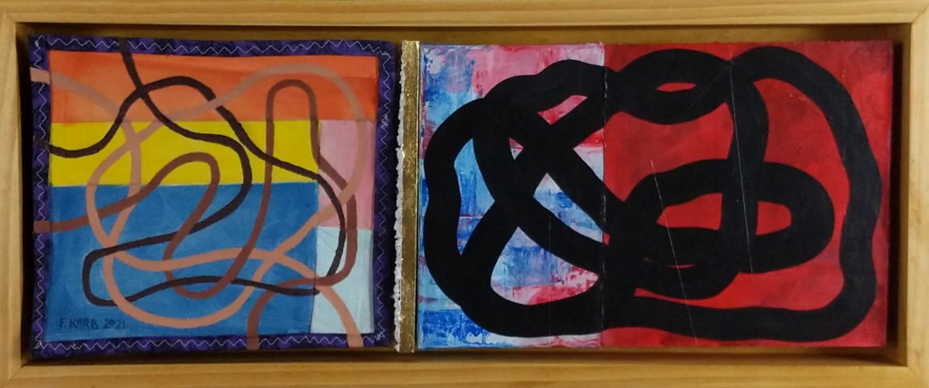 """""""This Is In Sync With Reality,"""" Frank Korb, Acrylic on Cloth, Canvas, and Masonite. Quilted Cloth with Bible Pages, Ballot Copies (Samples), Printed (Ink Jet) Wisconsin Maps, Gold Leaf, Stones, and Pine. 11 1/2"""" x 27 5/8"""", 2021. (Maquette.)"""